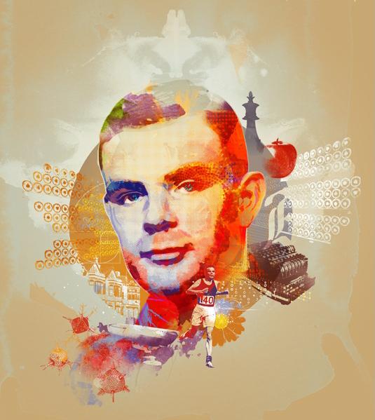 Die Graphik zeigt den Mathematiker Alan Turing. Bildnachweis: Andy Potts