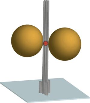 Das Schema zeigt die DNA-Origami Nanosäule (grau) immobilisiert auf einer Oberfläche. Zwei Gold-Nanopartikel mit einem Durchmesser von 80-100 nm dienen als Antenne und fokussieren das Licht im Hotspot zwischen den Nanopartikeln. Ein Fluoreszenzfarbstoff im Hotspot (rot) dient als optisch aktive Quelle und berichtet die Fluoreszenzverstärkung. Quelle: TU Braunschweig – PCI – frei zur Veröffentlichung bei Nennung der Quelle