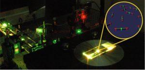 Ein Prototyp bei der Vermessung im Laserlabor. Die Vergrößerung zeigt eine schematische Darstellung von DNA-Origami-Strukturen, die als Nanometerlineale dienen.