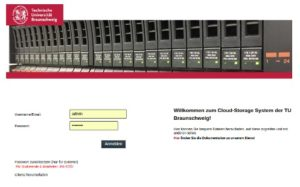 Screenshot vom Login der neuen TU-Cloud