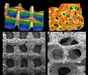 Strukturierungskonzepte für wieder aufladbare Zink-Luft Batterieelektroden: Sekundär-Elektronenmikroskopie- und digitale Lichtmikroskopie-Aufnahme von 2,5- (links) und 3-dimensionalen Elektrodenstrukturen (rechts) (TU Braunschweig/iPAT)