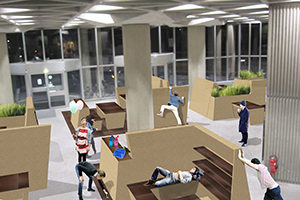 Studentische Arbeitsplätze im Foyer des Informationszentrums. Visualisierung: Göran Gallandt