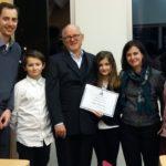 Dr. Patrick Achard, Prof. Theo Lange und Dr. Maria Pimenta Lange, Prof. Laurence Drouard sowie die Kinder Lucas und Sara nach der Verleihung der Gutenberg Professur. (Foto. privat)