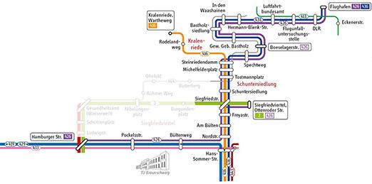 Netzplan der Linie 426 (Quelle: Braunschweiger Verkehrs-GmbH)