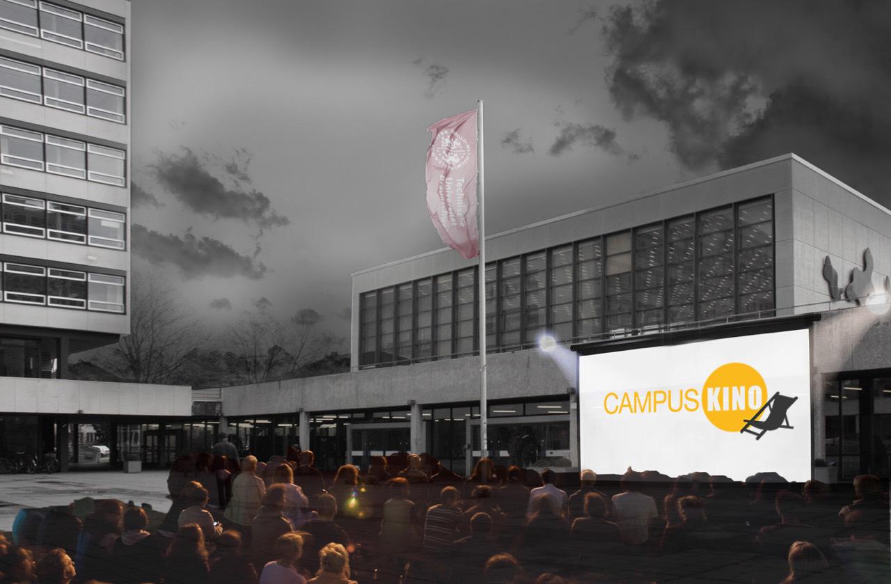 Der Forumsplatz als Kinosaal. Visualisierung vom Projekt Sandkasten - selfmade campus.