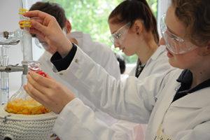 Studieren auf Probe: Die Schülerinnen und Schüler können unter Anleitung selbst experimentieren.