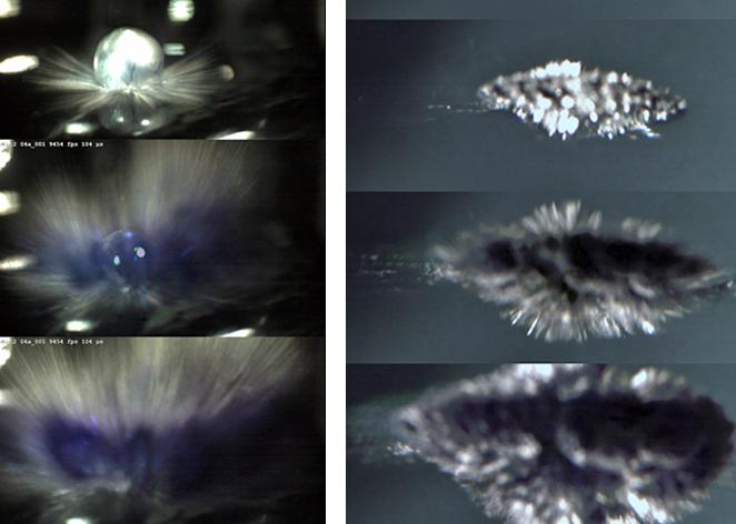 Eintauchen eines Alkalimetalltropfens in Wasser: Jede Sequenz stellt einen Zeitraum von etwa 0,25 Millisekunden dar. Linke Spalte (Sicht von oben): Wasserspritzer wegen Aufschlag des Metalls, blaue Färbung vermutlich durch gelöste Elektronen. Rechte Spalte (Sicht von der Seite): Es sind deutlich die metallischen Finger der Coulomb-Explosion zu erkennen. (Tillmann Buttersack/TU Braunschweig)