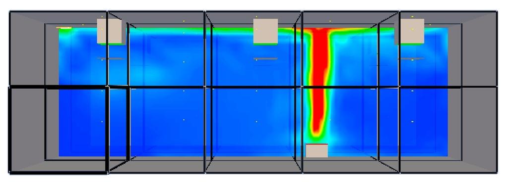 Computergrafik einer rechnerischen Simulationen einer Verrauchung (Prof. Jochen Zehfuß)