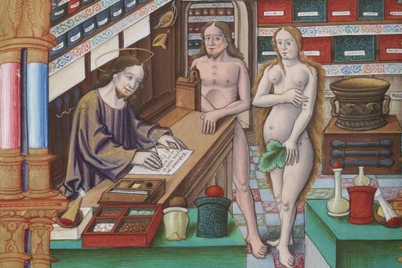 Ein Bild aus dem Mittelalter stellt Christus als Arzt dar, der Adam und Eva mit Medikamenten versorgt.