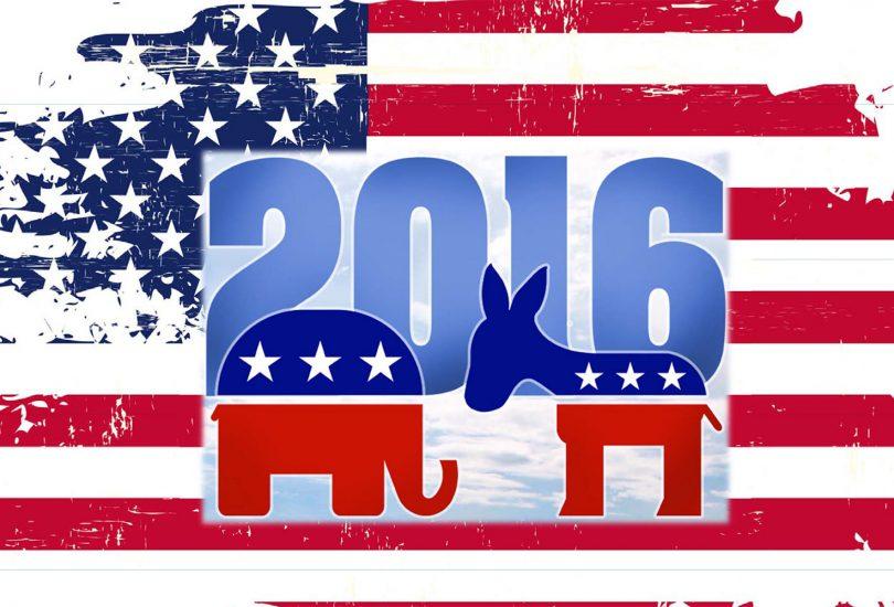 Grafik mit Elefant und Esel vor dem Hintergrund der US-Flagge