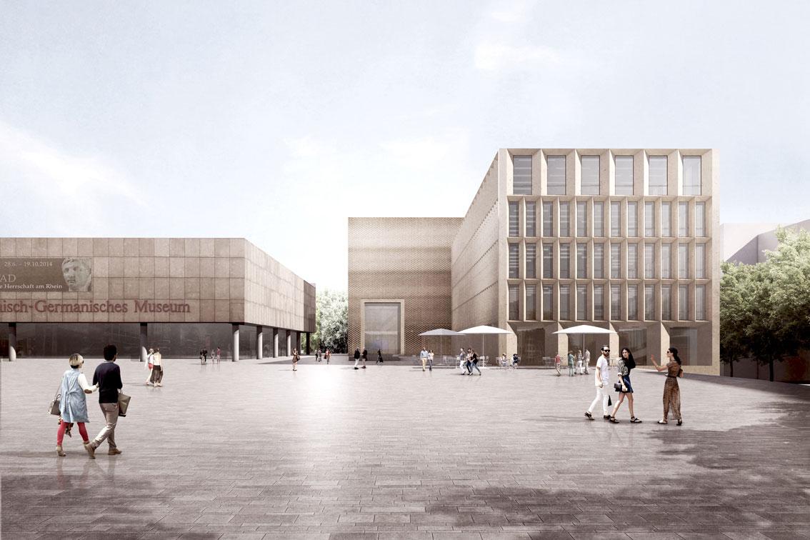 Ansicht des Entwurfs vom Roncalli-Platz aus gesehen. Bildnachweis: Staab Architekten