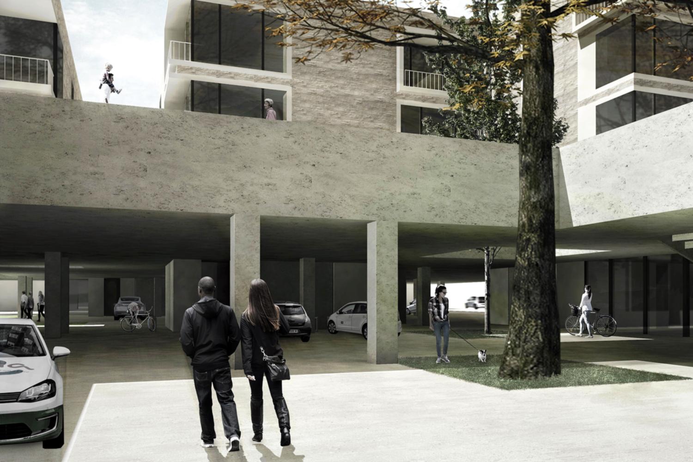 """Graphische Darstellung des Projektes """"Projekt """"Das Stadthaus neu gedacht – eine Symbiose von Parken und Wohnen"""" (Bildnachweis: TU Braunschweig/Carla Kern und Jana Thalman)"""