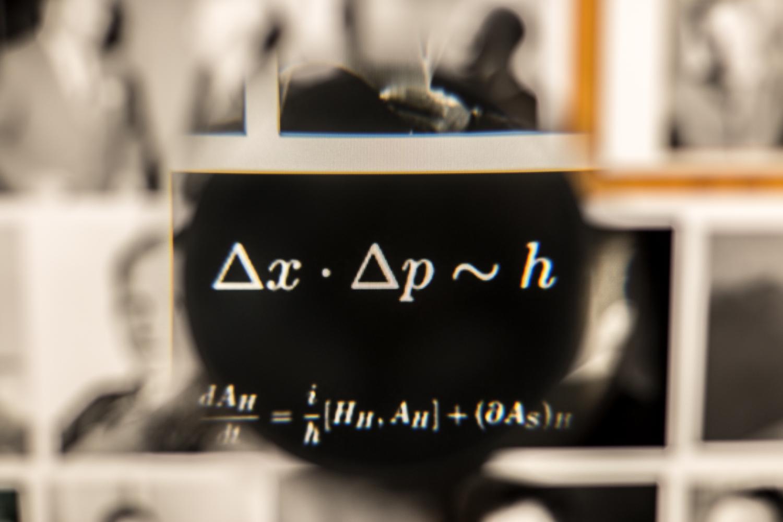 Symbolbild: Die Formulierung einer Unschärferelation zwischen von Ort und Impuls eines Teilchens von Heisenberg (Bildnachweis: Stephan Nachtigall/TU Braunschweig).