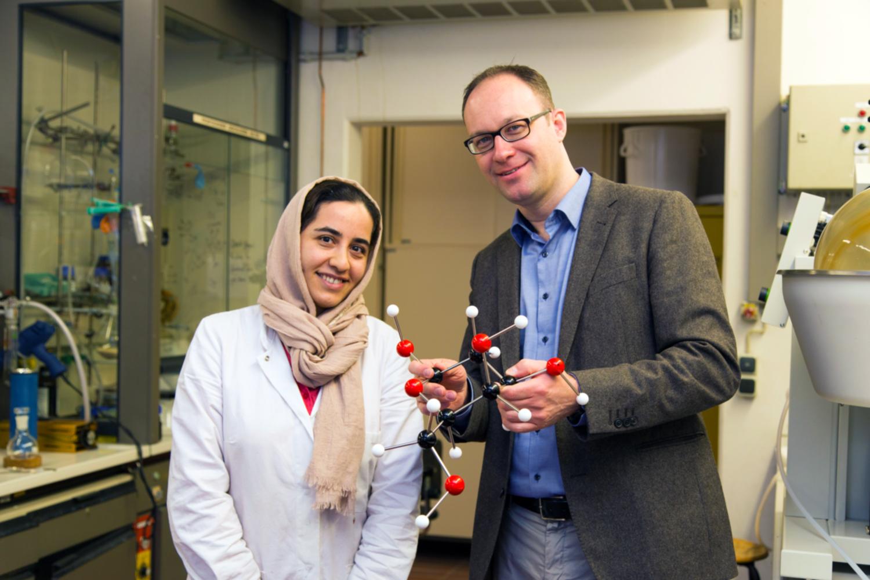 Dr. Somayeh Ahadi und Post-Mentor Prof. Dr. Daniel B. Werz vom Institut für Organische Chemie (Bildnachweis: Jonas Vogel/TU Braunschweig).