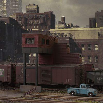 Bahnhofslandschaft in einer Großstadt