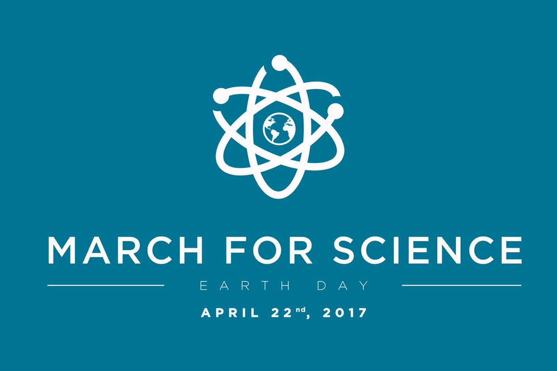 Das Bild zeigt das Logo des March for Science weiß auf blau und den Termin: 22.4.2017.