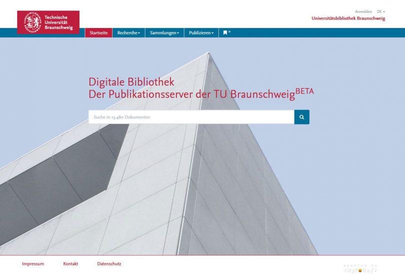 Screenshot der Startseite des Publikationsservers.