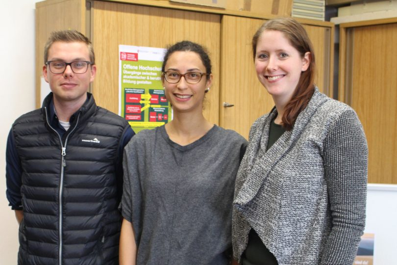 Gruppenfoto des Wegbereiter-Teams: Marcus Voitel, Johanna Kuchling und Inga Möller.