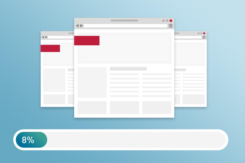 Zu sehen ist eine Grafik, die eine unvollständige Webseite und einen Ladebalken zeigt, der zu 8% geladen ist.