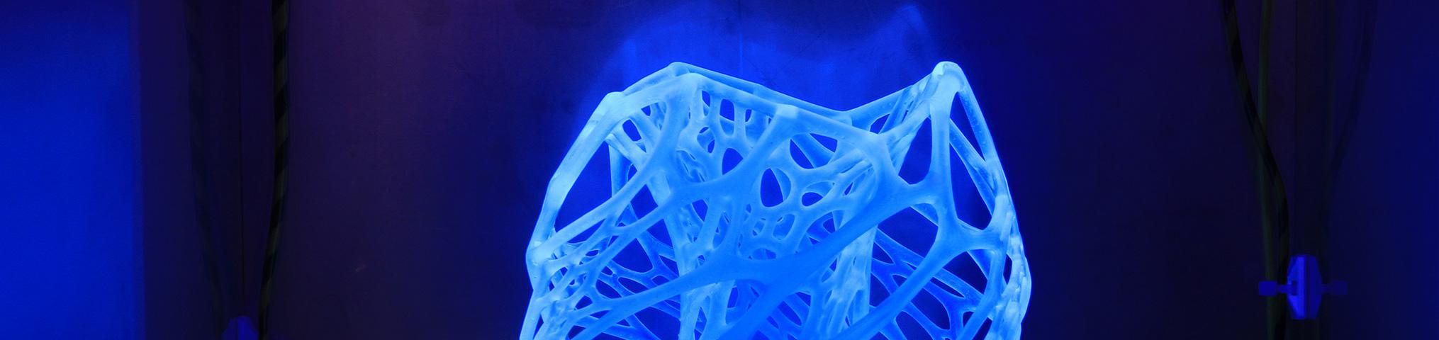 Zu sehen ist eine modellierte Zellstruktur, die mit einem 3D-Drucker des Rechenzentrums erstellt wurde.