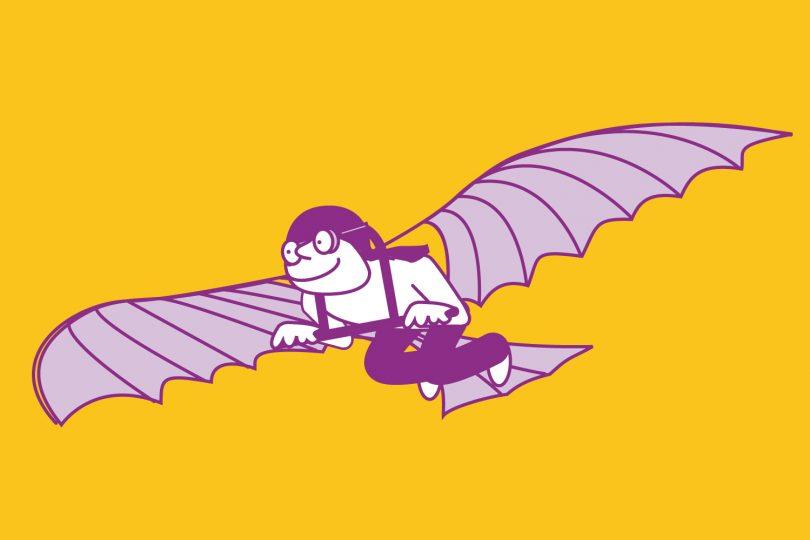 Graphik eines Kindes mit einem Flugapparat wie dir von Otto Lilienthal
