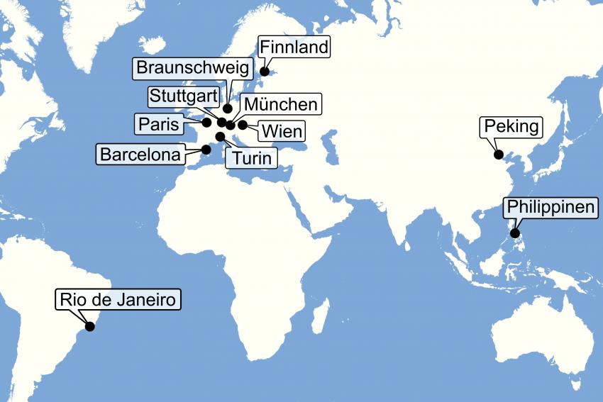 Weltkarte mit den neun Orten, wo 5G-Broadcast getestet wird
