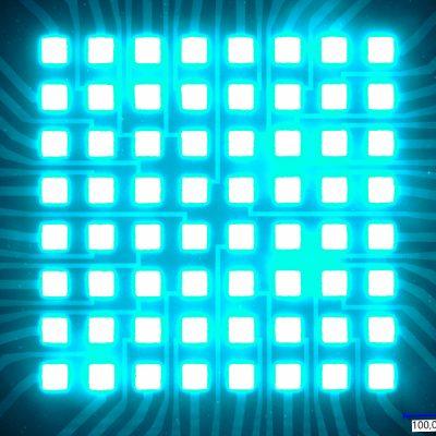 Acht mal acht mikroskopische LEDs leuchten hell in cyan. Bei dem Chip für Quantencomputer wären lediglich feine Lichtstrahlen erkennbar.