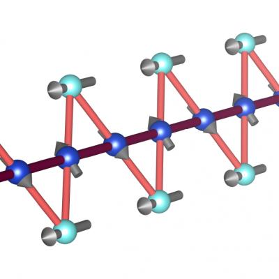 Acht Dreiecke sind zu einer geraden Sägezahnkette zusammengefügt. An jedem Eckpunkt zeigt ein Pfeil die teilweise instabile magnetische Ausrichtung.