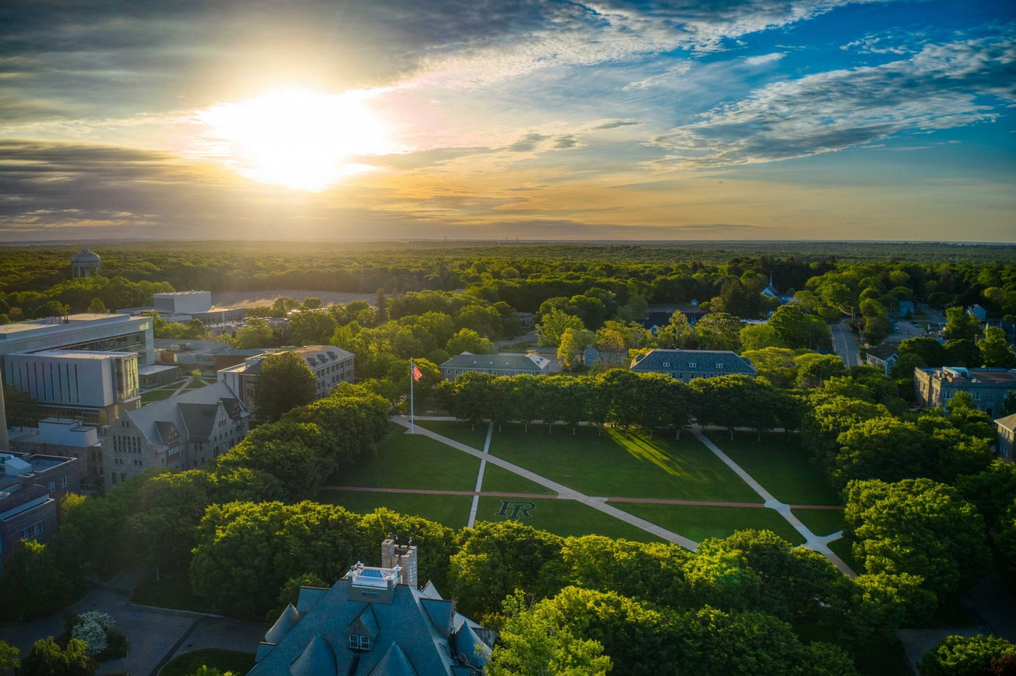 URI's campus from an aerial perspective at sunset.